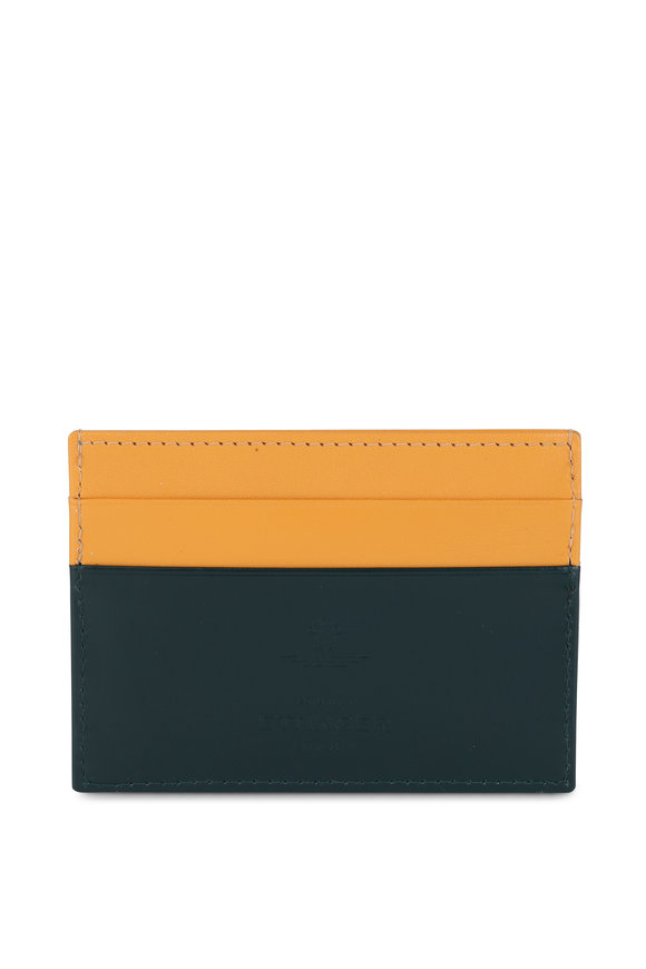 Ettinger Leather Bridle Green & Yellow Leather Card Case