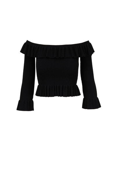 Michael Kors Collection - Black Ribbed Off-The-Shoulder Ruffle Top