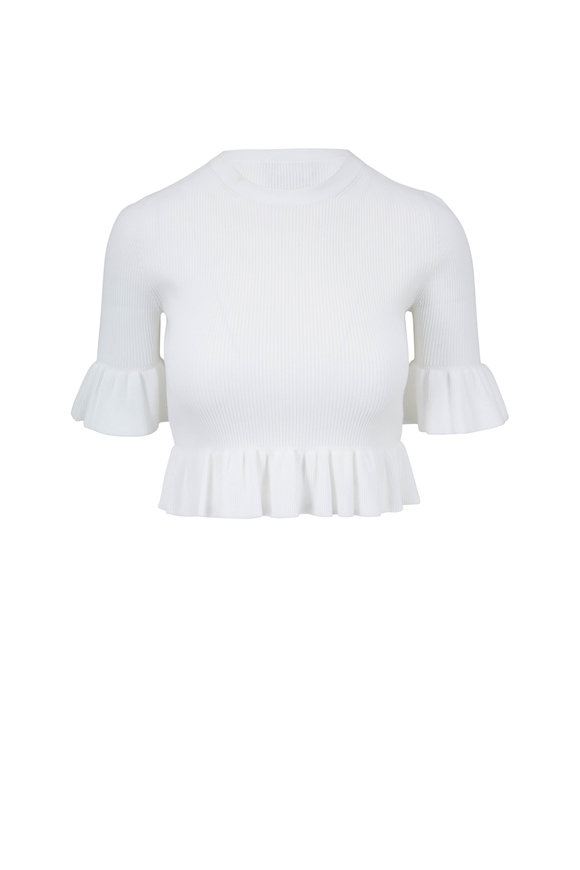 Michael Kors Collection White Ruffle Trim Crewneck Ribbed Top