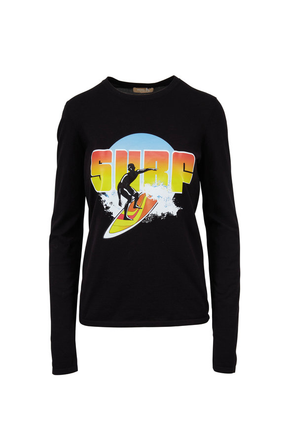 Michael Kors Collection Black Surf Screenprint Long Sleeve T-Shirt