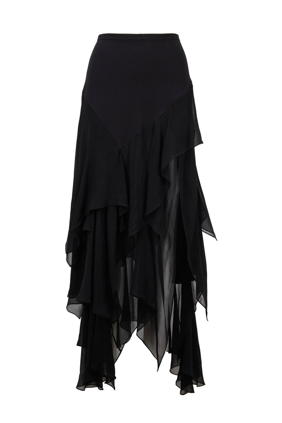 Michael Kors Collection Black Silk Chiffon Skirt