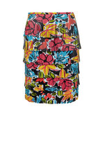 Michael Kors Collection - Black Leather Floral Plongé Fringed Skirt