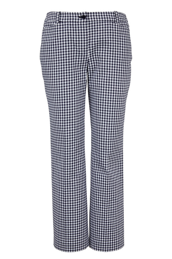 Michael Kors Collection Maritime & Optic White Gingham Crop Pant