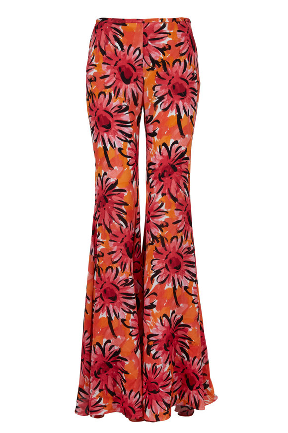 Michael Kors Collection Persimmon Sunflower Printed Georgette Pant