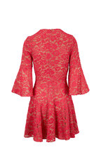Michael Kors Collection - Watermelon Floral Lace Bell Sleeve Dress