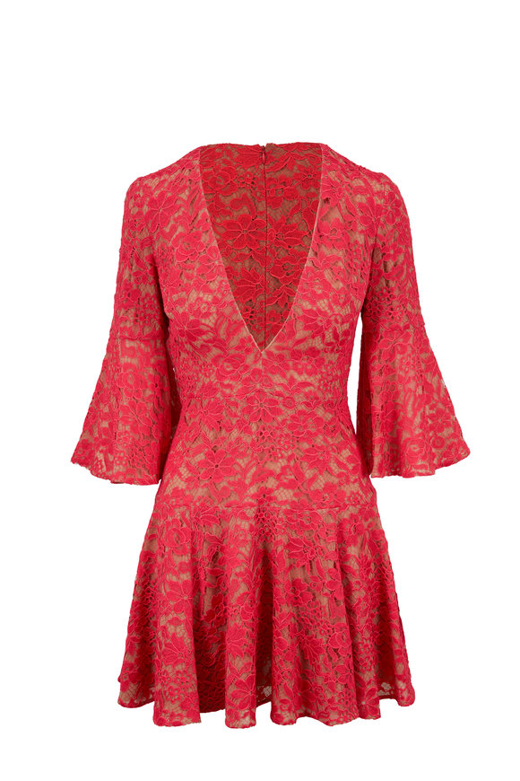 Michael Kors Collection Watermelon Floral Lace Bell Sleeve Dress