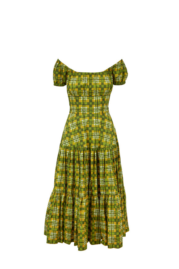 Michael Kors Collection Green & Yellow Daisy Madras Poplin Dress