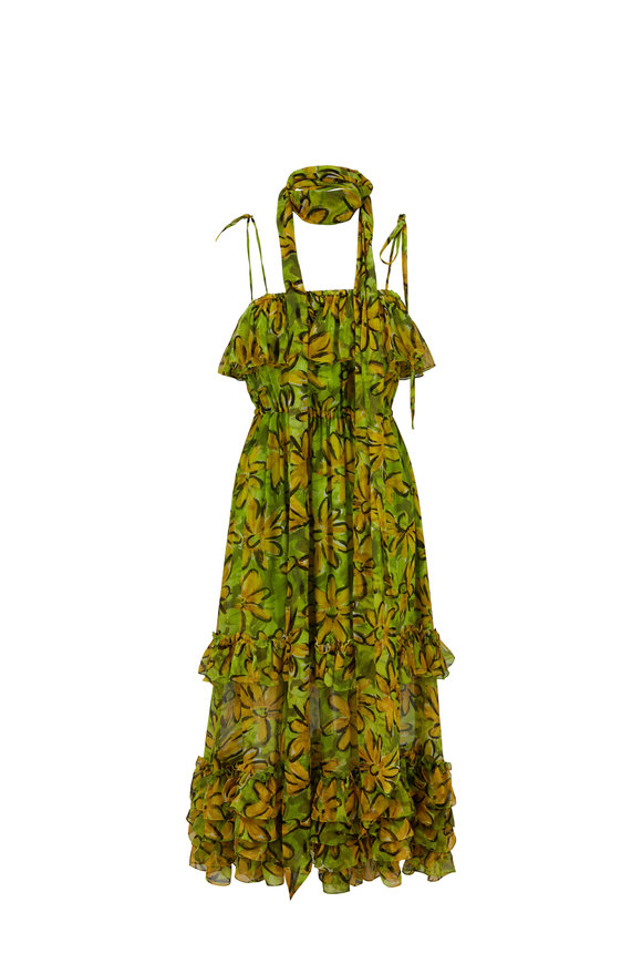 Michael Kors Collection Green & Yellow Silk Chiffon Daisy Floral Sundress