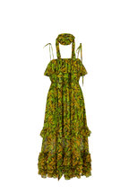 Michael Kors Collection - Green & Yellow Silk Chiffon Daisy Floral Sundress