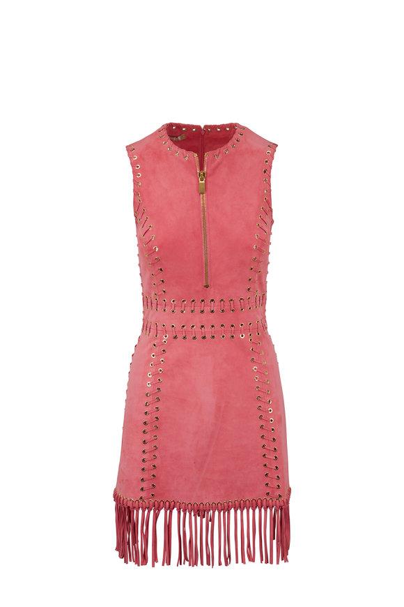 Michael Kors Collection Flamingo Pink Suede Fringe Dress