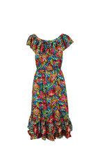 Michael Kors Collection - Black Aquatic Sealife Ruffle Trim Dress