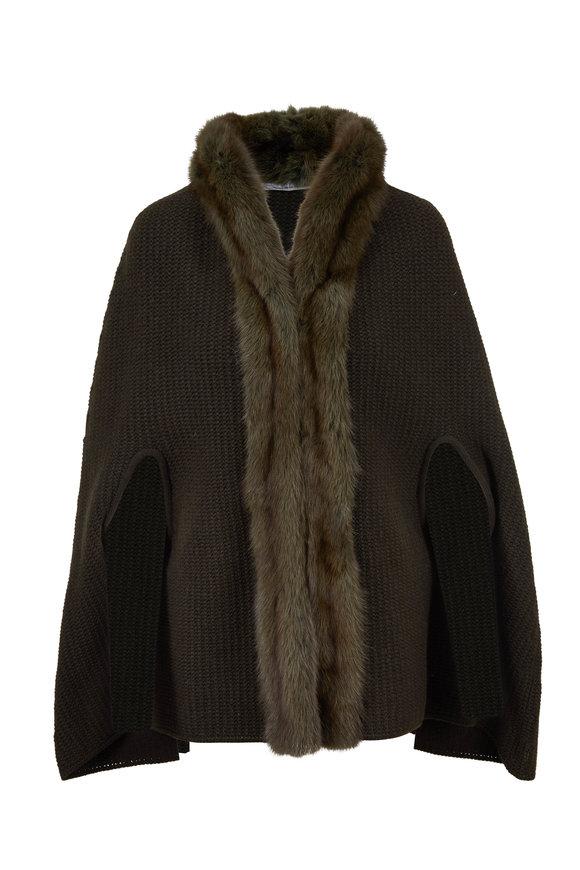 Oscar de la Renta Furs Olive Sable Trim Knit Cape