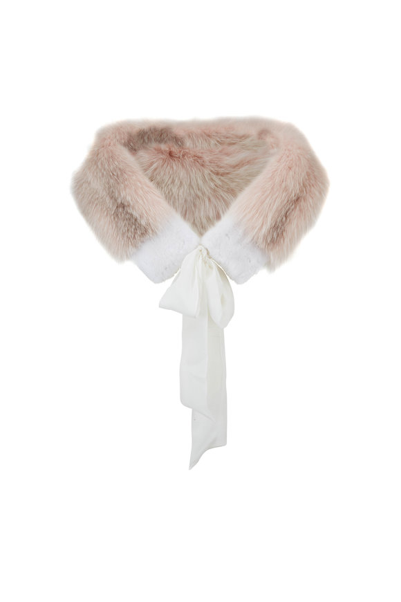 Oscar de la Renta Furs Antique Rose Frost Fox Stole