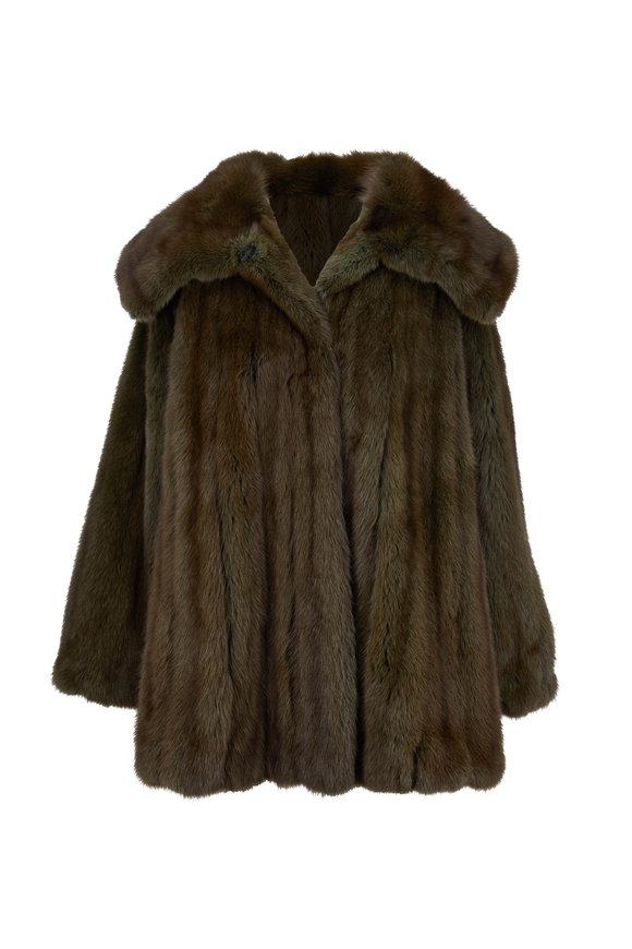 Oscar de la Renta Furs Olive Sable Swing Coat