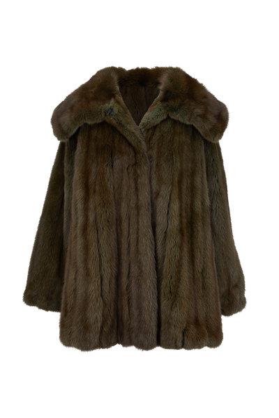 Oscar de la Renta Furs - Olive Sable Swing Coat
