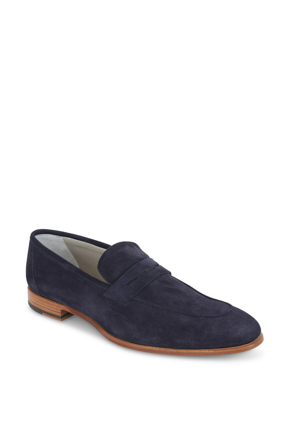 Kiton Faran Navy Blue Suede Penny Loafer