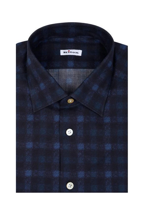 Kiton Navy Blue Check Dress Shirt