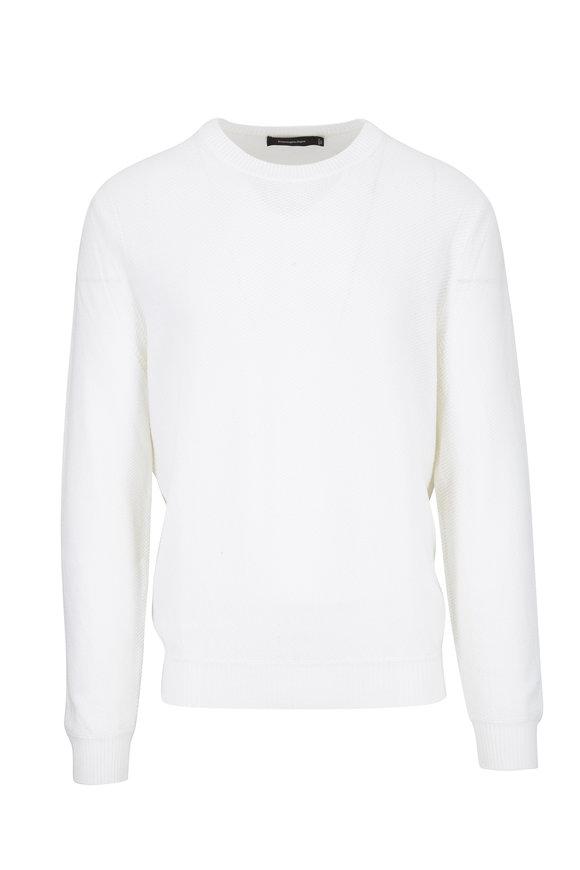 Ermenegildo Zegna White Wool & Cashmere Crewneck Pullover