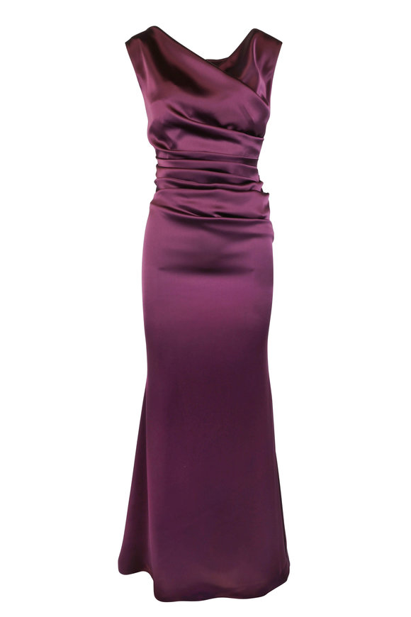 Talbot Runhof Kombo1 Wine Shiny Crepe Gown