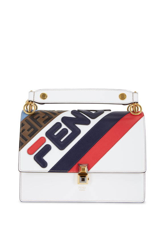 Fendi Kan I Multi Leather Logo Small Shoulder Bag