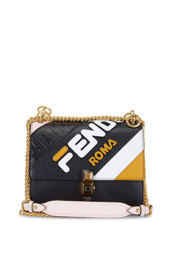 Fendi Kan l Light Pink Multi Leather Logo Crossbody