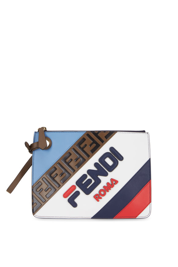 Fendi Triplette Multi Leather Logo Small Clutch