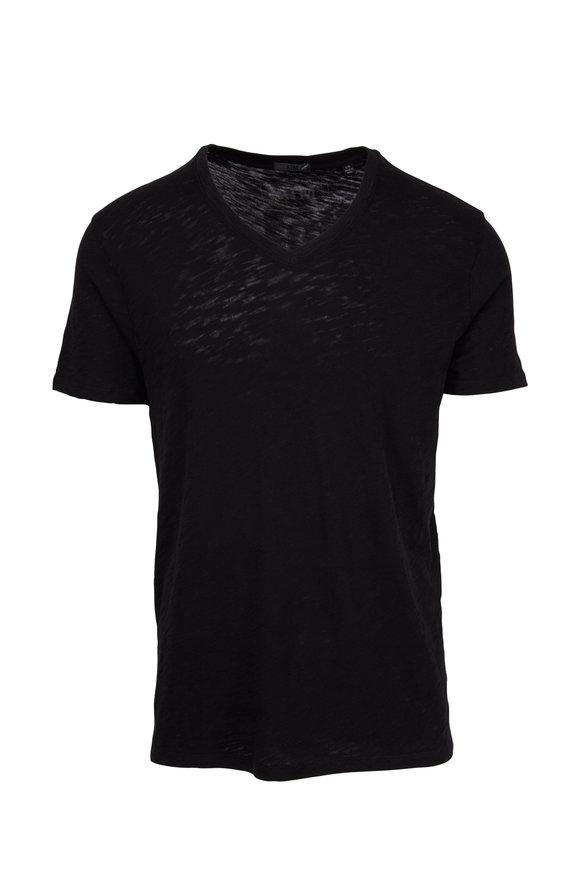 A T M Black Cotton Slub V-Neck T-Shirt