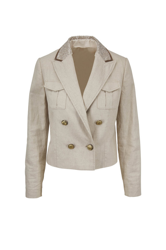 Brunello Cucinelli Oyster Linen & Cotton Double-Breasted Jacket