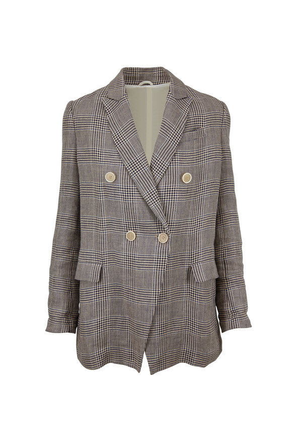 Brunello Cucinelli Buttermilk Plaid Linen Double-Breasted Jacket