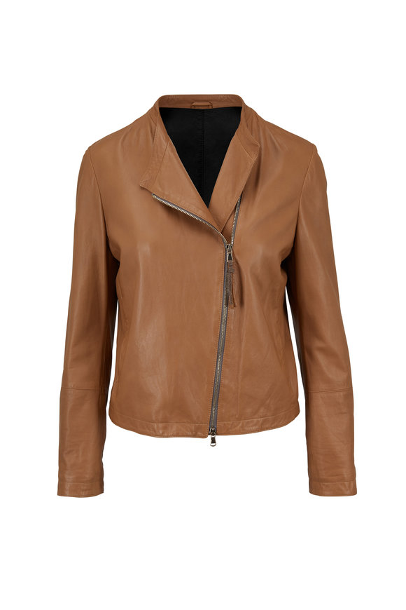 Brunello Cucinelli Luggage Nappa Leather Collarless Jacket