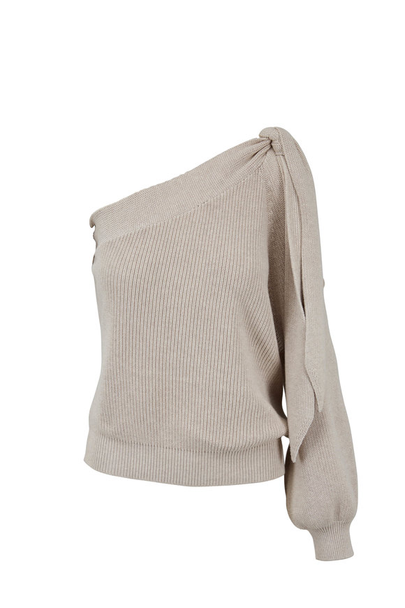 Brunello Cucinelli Oyster Cotton Ribbed One Shoulder Tie Sweater