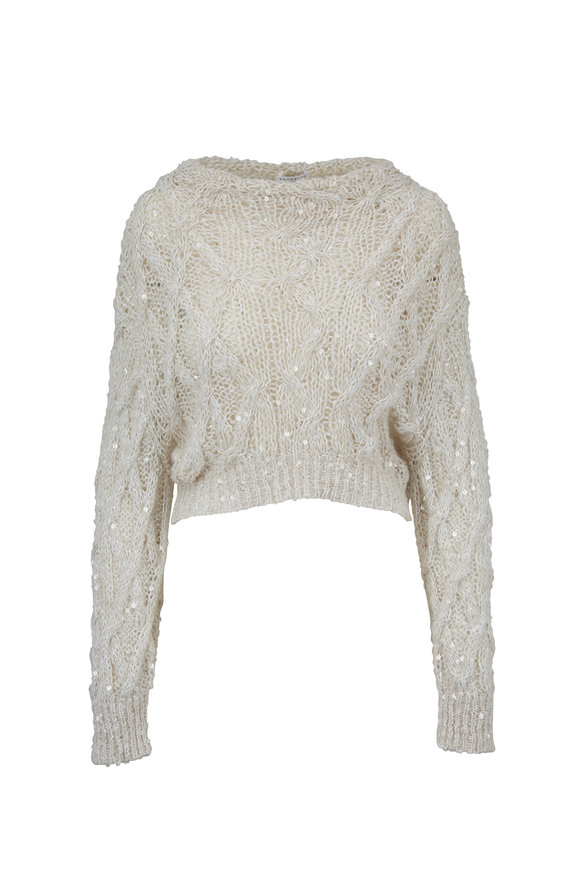 Brunello Cucinelli Ivory Paillette Cropped Sweater