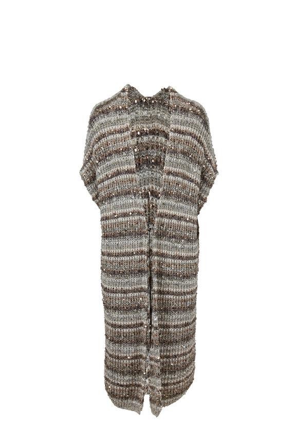 Brunello Cucinelli Pebble Paillette Single Button Striped Vest