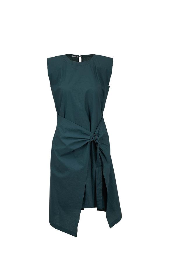Brunello Cucinelli Jungle Poplin Wrap Front Cap Sleeve Dress