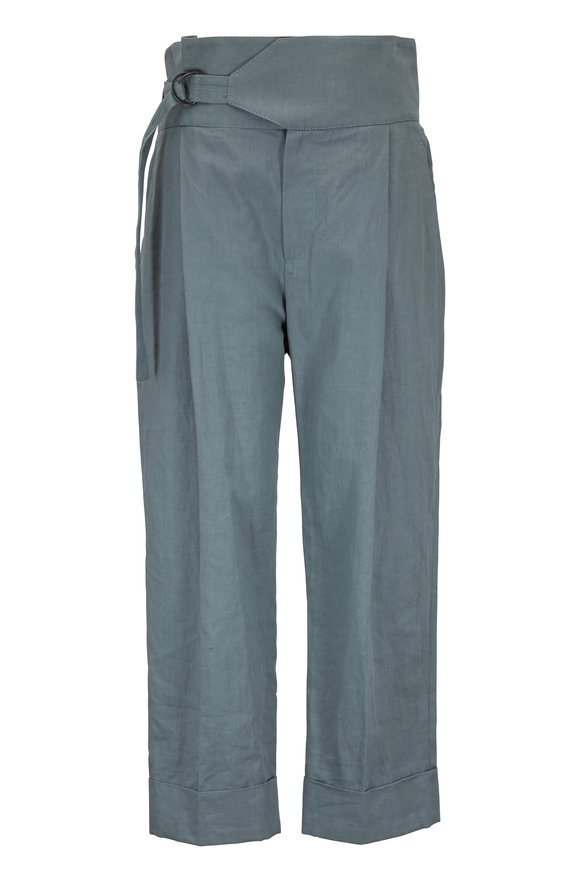 Brunello Cucinelli Sage Linen & Cotton High-Rise Cuffed Pant