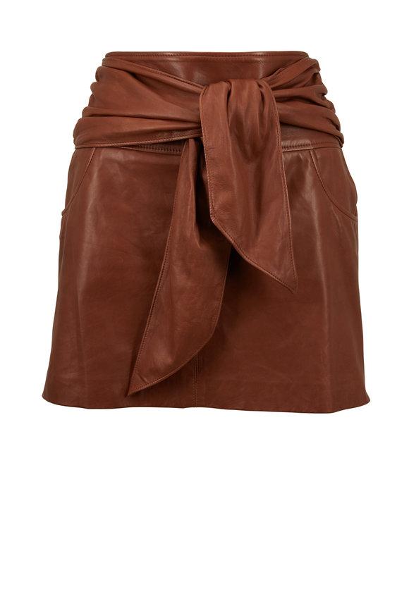 Brunello Cucinelli Cinnamon Leather Tie Front Mini Skirt