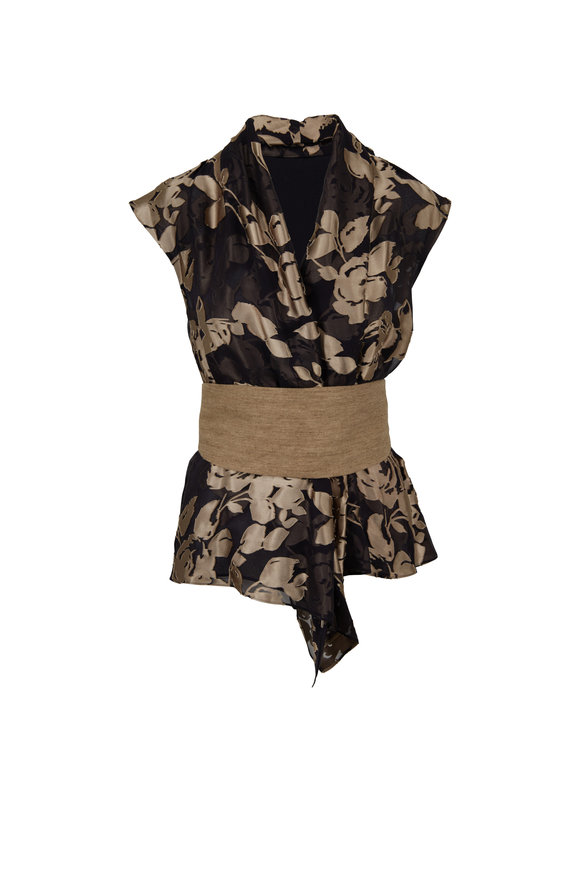 Brunello Cucinelli Black & Camel Floral Printed Wrap Top
