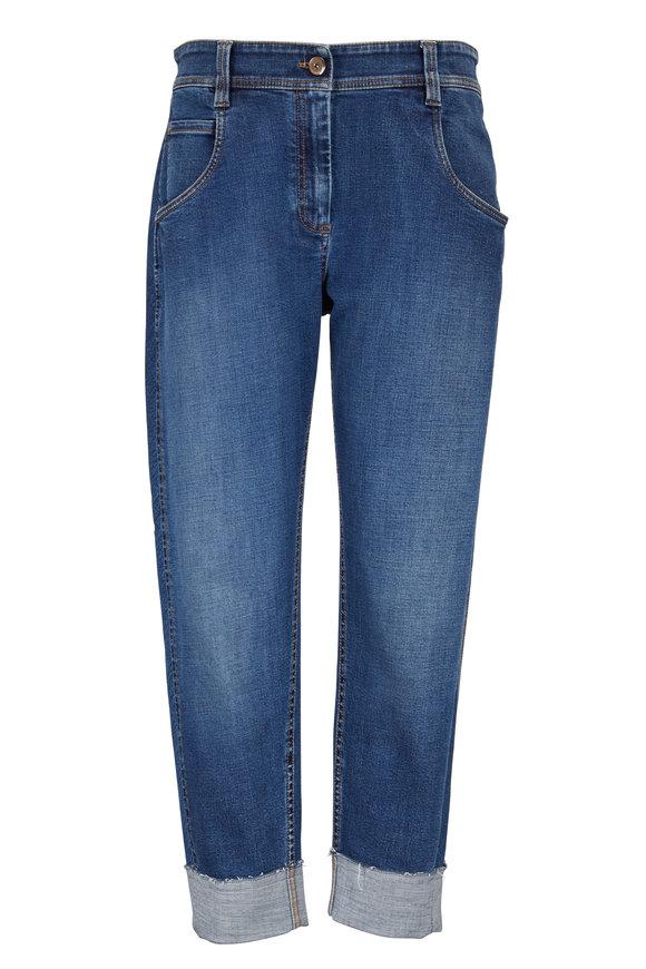 Brunello Cucinelli Denim Relaxed Five Pocket Cuffed Jean