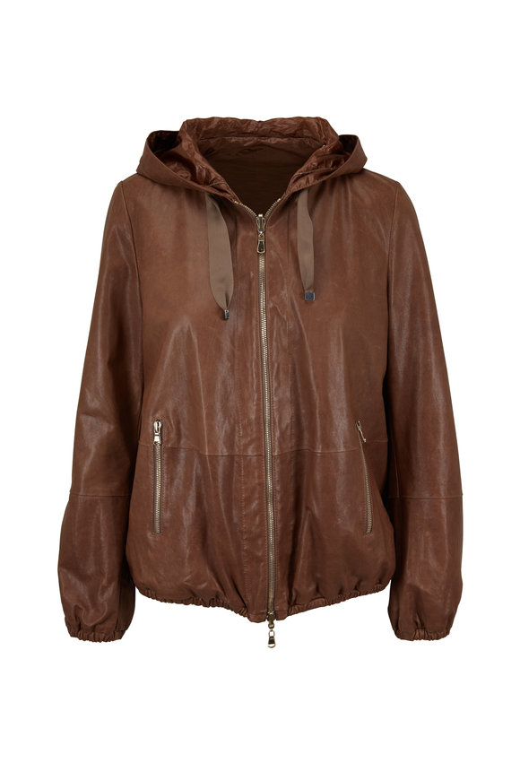 Brunello Cucinelli Cigar Leather Reversible Hooded Bomber Jacket
