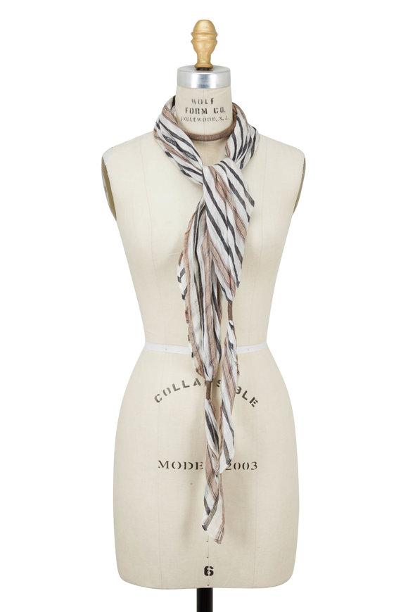 Brunello Cucinelli White & Natural Striped Linen Scarf