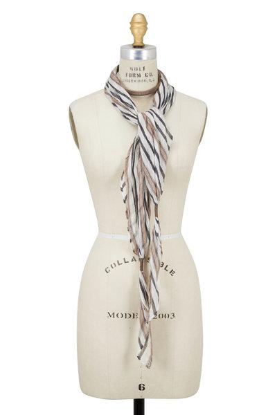 Brunello Cucinelli - White & Natural Striped Linen Scarf