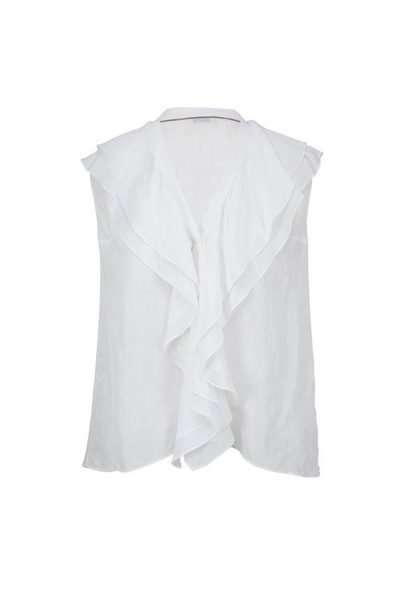 Brunello Cucinelli White Silk Ruffle Front Sleeveless Top