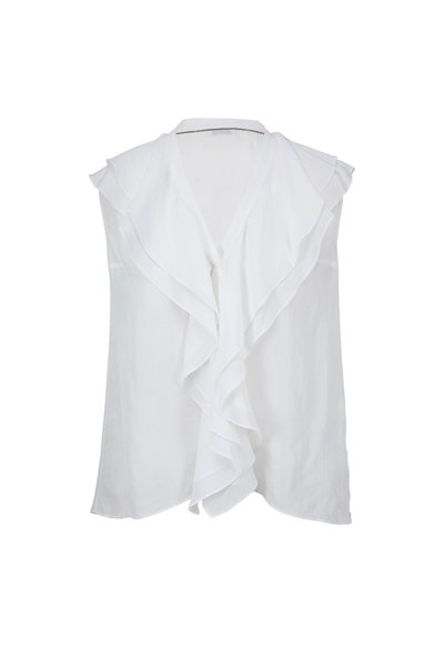 Brunello Cucinelli - White Silk Ruffle Front Sleeveless Top