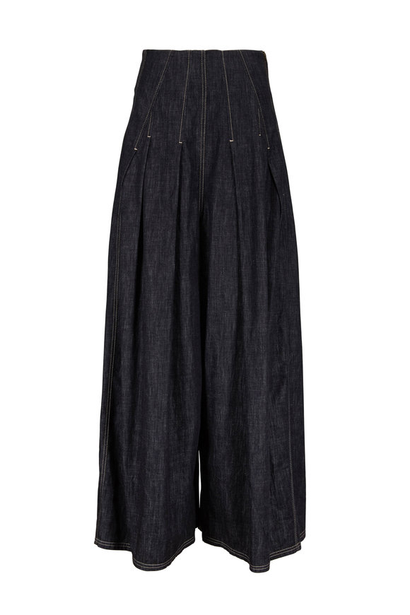 Brunello Cucinelli Dark Denim High-Rise Pleated Pant