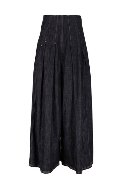 Brunello Cucinelli - Dark Denim High-Rise Pleated Pant