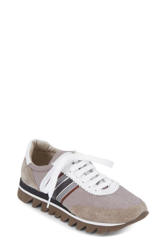 Brunello Cucinelli Desert Monili & Ribbon Trim Sneaker