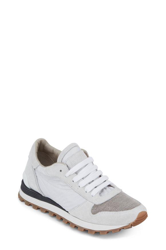 Brunello Cucinelli White Nylon & Suede Monili Toe Sneaker
