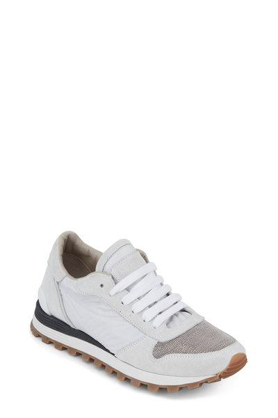 Brunello Cucinelli - White Nylon & Suede Monili Toe Sneaker