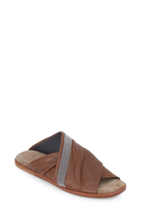 Brunello Cucinelli Chestnut Leather Monili Trim Slide