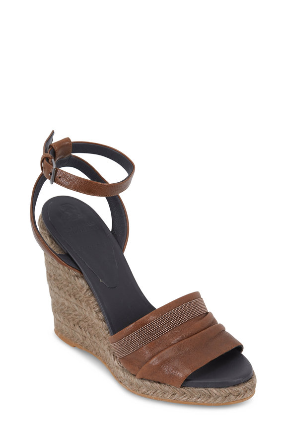 Brunello Cucinelli Chestnut Leather Espadrille Wedge Sandal, 100mm